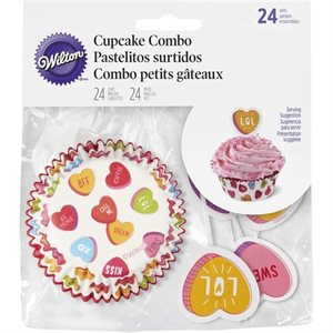 Valentine's Day Candy Hearts Combo Standard Cupcake Baking Cups Combo-24 Sets By Wilton