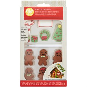 Customizable Gingerbread House Icing Decorations - 12ct