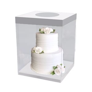 "Clear Square Box w /  White Base 10"" x 10"" x 9.8"""