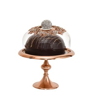 NY Cake Rose Gold Stand w / Jeweled Dome 10 1 / 2""