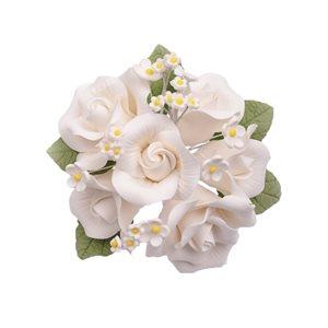 White Garden Rose Bouquet Sugar Flowers