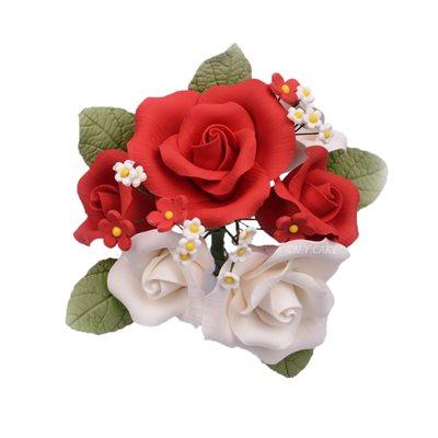 Red Garden Rose Bouquet Sugar Flowers