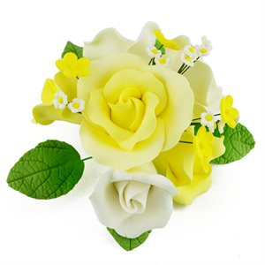 Yellow Garden Rose Bouquet Sugar Flowers