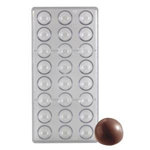 "Hemisphere 1"" Polycarbonate Chocolate Mold - 24 Cavity"