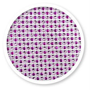 Magenta & Silver Dots Rhinestone Cake Bling 10 Yards