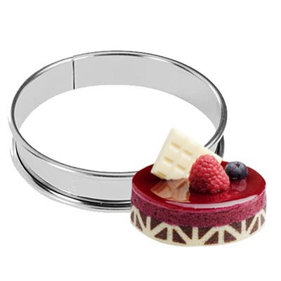 "Stainless Steel Round Tart Ring,110mm 4 2 / 5"" x 3 / 4"" High"