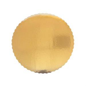 "7"" Scalloped Gold Cake Circle"