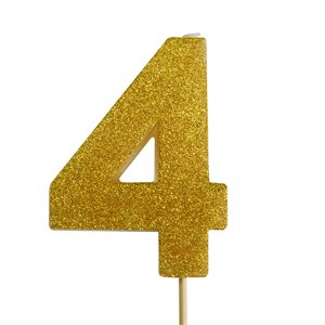Gold Glitter Number 4 Candle 4""