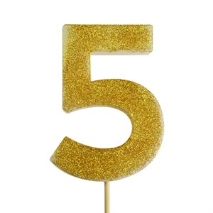 Gold Glitter Number 5 Candle 4""