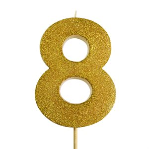 Gold Glitter Number 8 Candle 4""