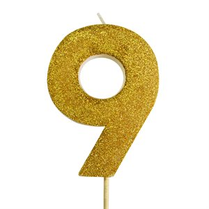 Gold Glitter Number 9 Candle 4""