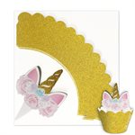 NY Cake Unicorn CupCake Topper and Wrapper set (12)
