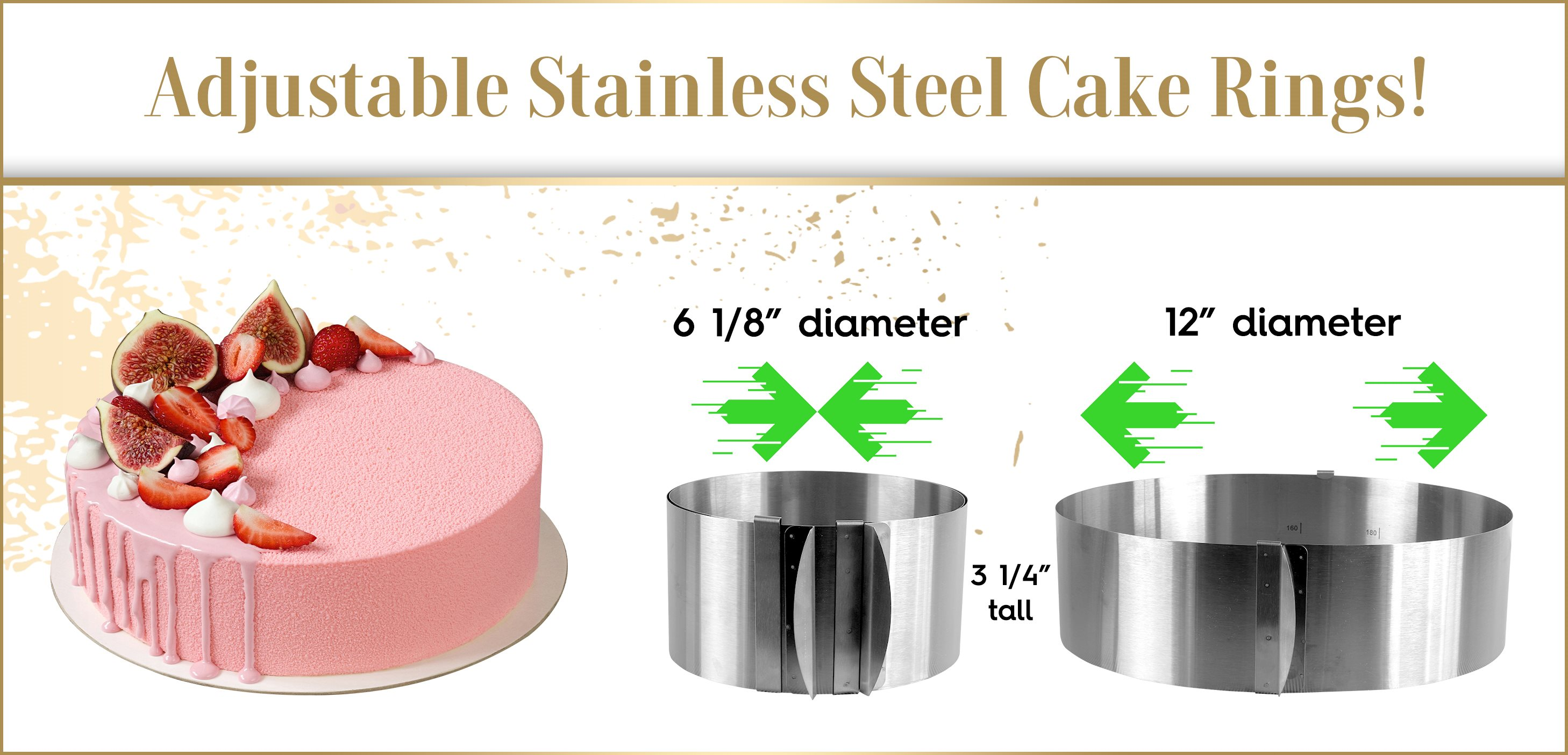 Adjustable Collapsible Retractable Expandable Cake Ring Mousse Mold