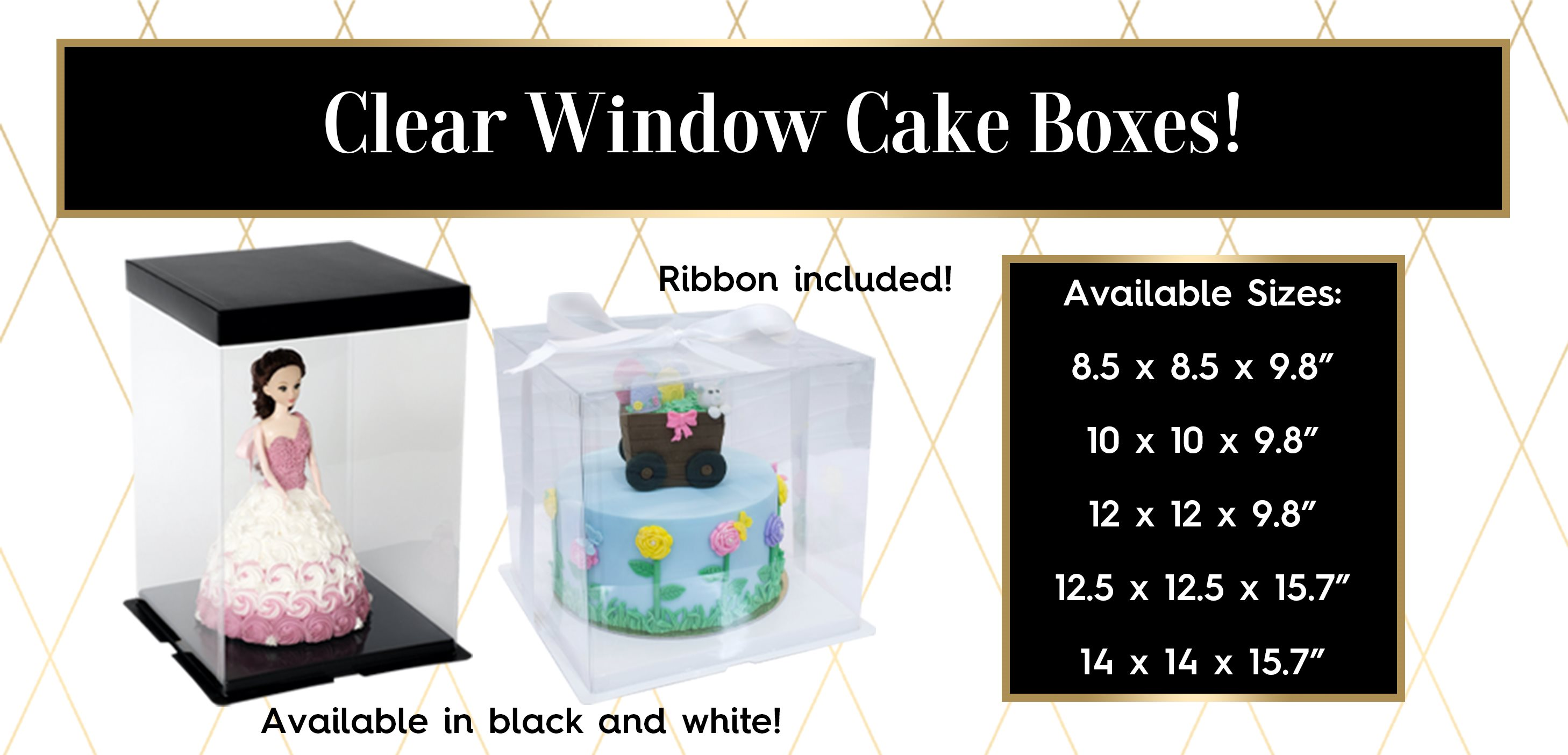 Clear Window Cake Boxes Black White Base