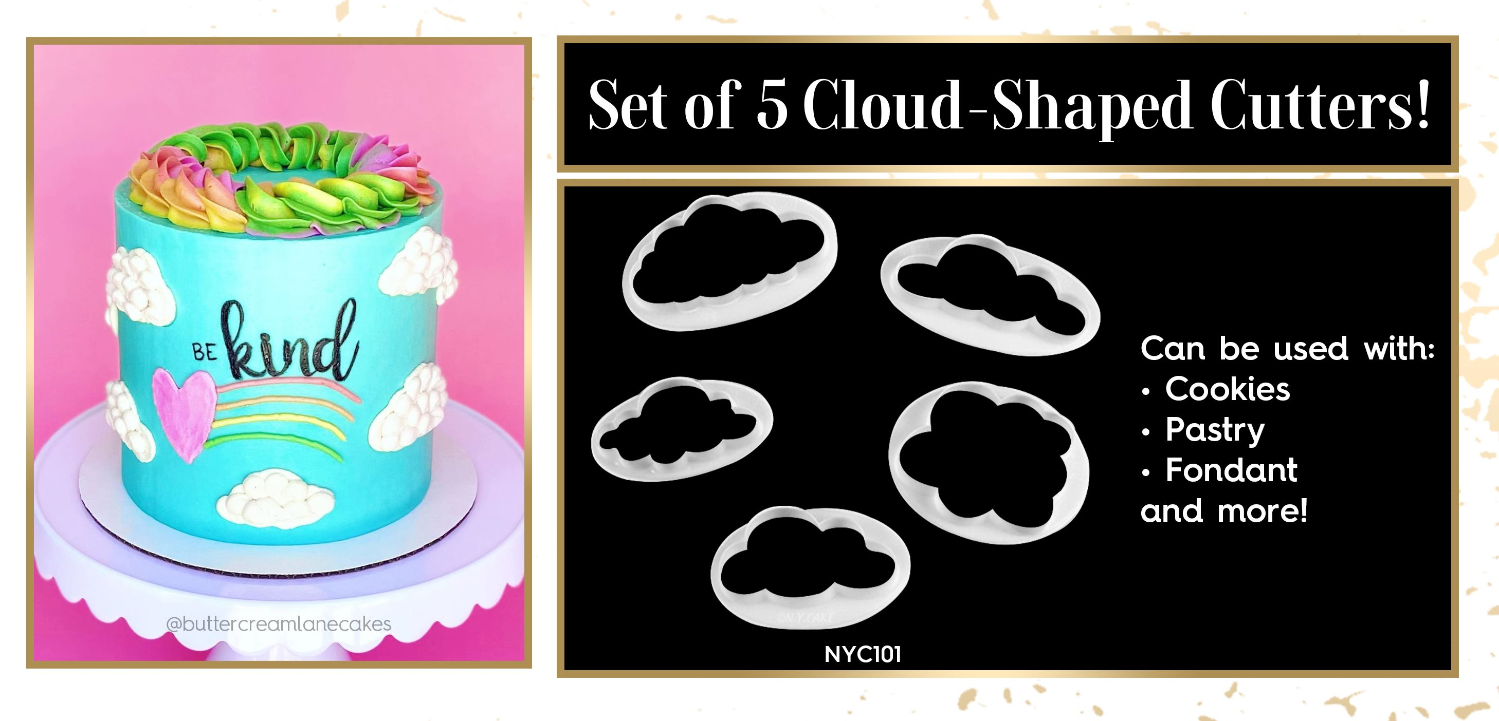 Cloud Shaped Pastry Cookie Fondant Cutter