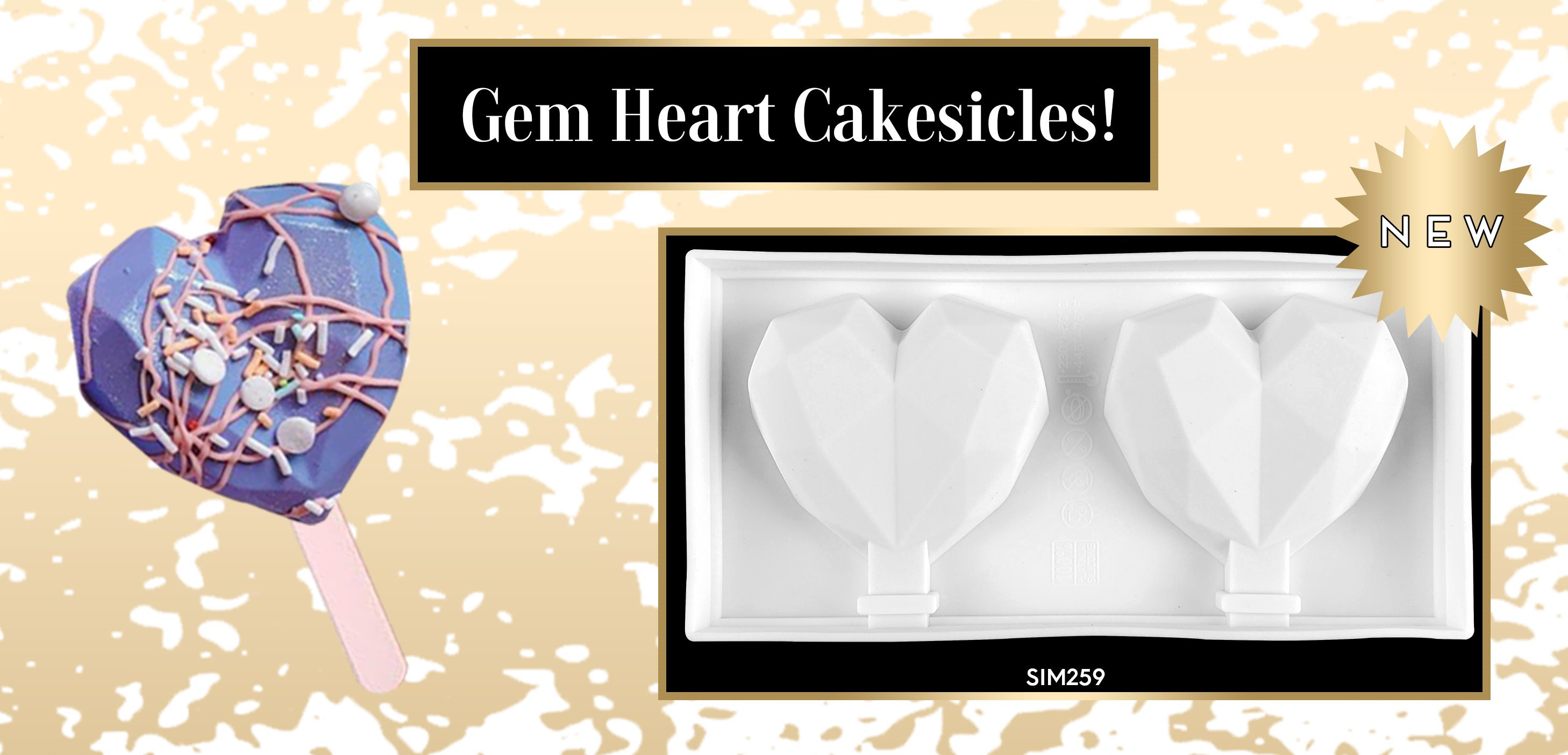 Cakesicle Popsicle Gem Geometric Diamond Heart Silicone Mold
